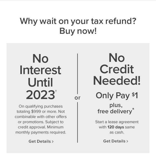 why wait on your tax refund? buy now! No interest until 2023. On qualifying purchases totaling $999 or more. Not combinable with other offers or promotions. Subject to credit approval. Minimum monthly payments required. get details. or No credit needed! only pay $1 plus 10% off. Start a lease agreement with 120 days same as cash. In stores only. get details