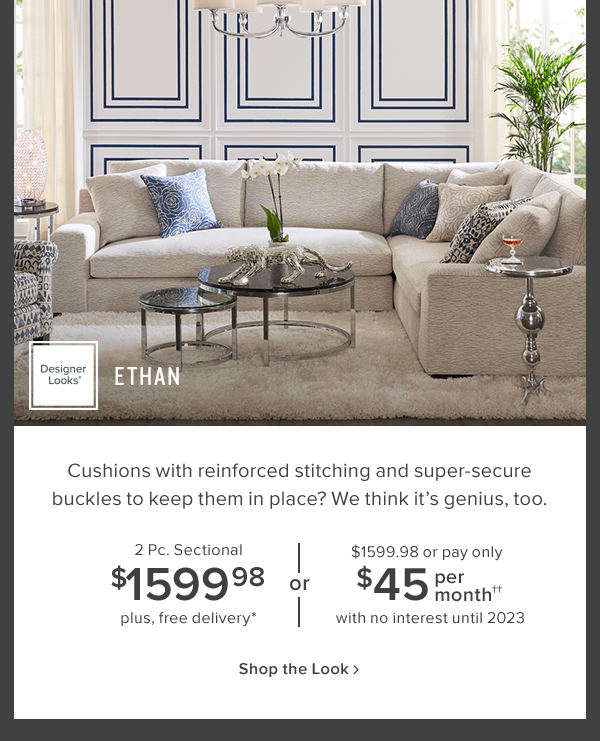 ethan 2 pc. sectional $1599.99. plus free delivery. shop now