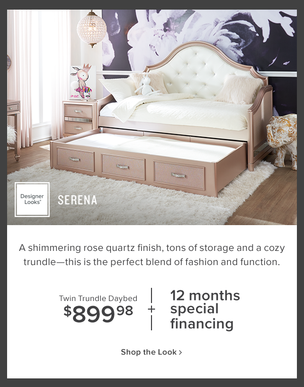 serena twin trundle daybed $899.98. shop now