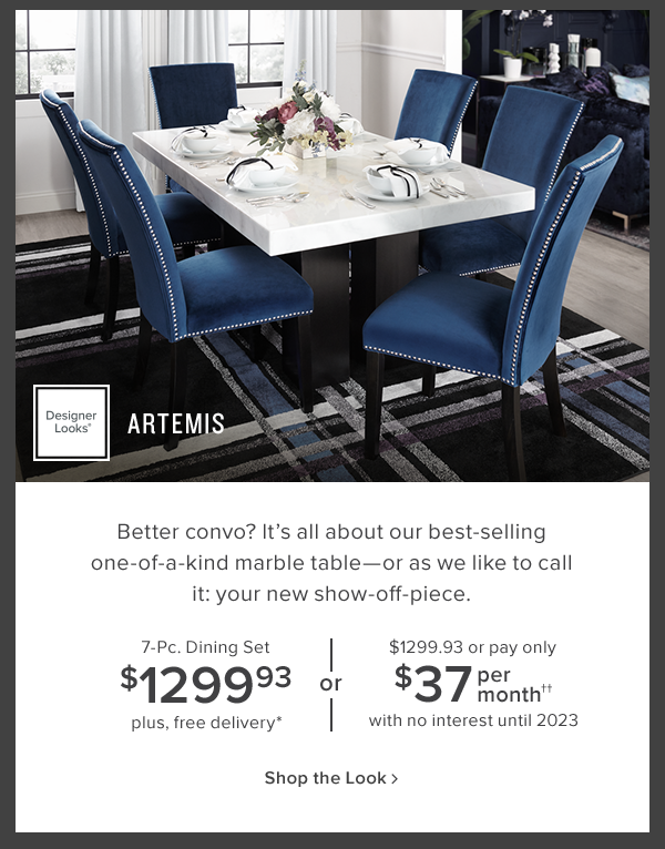 artemis 7 pc dining set $1299.93 plus free delivery. shop now.
