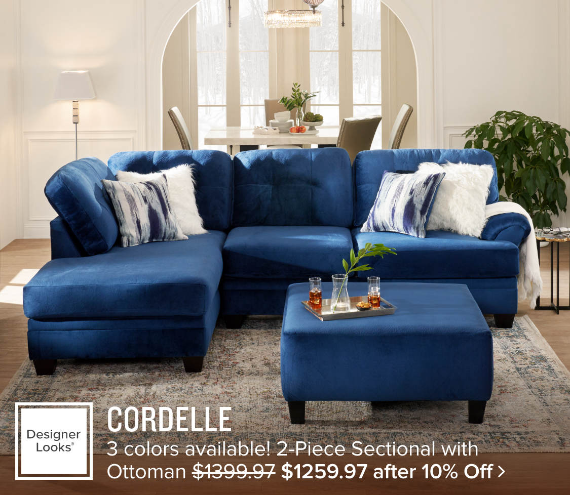 Cordelle 2-Piece Sectional and Ottoman - $1259.97 after 10% Off