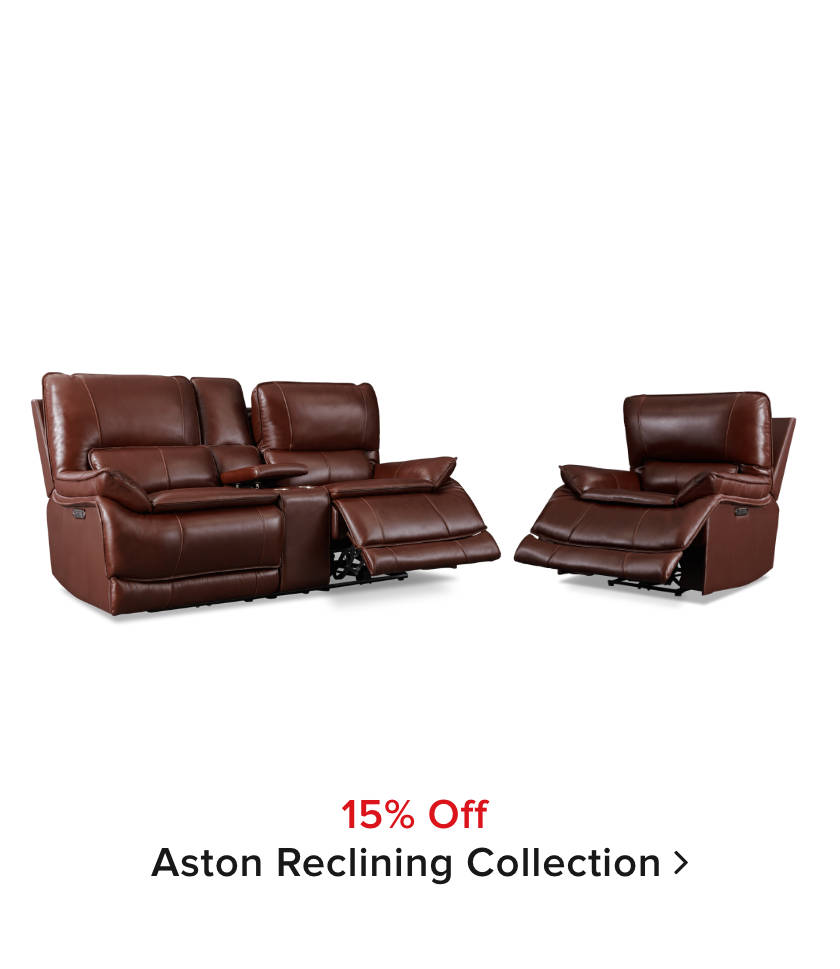 15% off Aston reclining collection