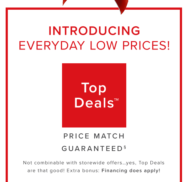 Introducing everyday low prices! top deals price match guaranteed. Not combinable with storewide offers... yes, Top Deals are that good! Extra bonus: Financing does apply! shop now.