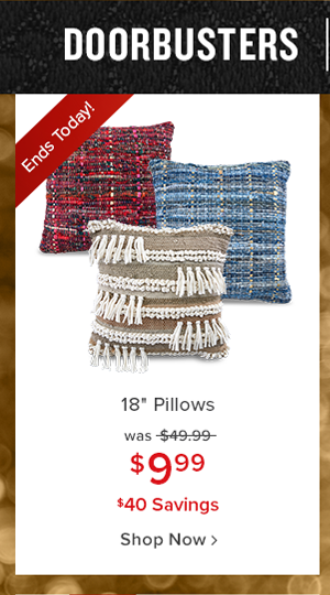 doorbusters take home today. 18 inches pillows was $49.99 $9.99 $40 savings shop now.