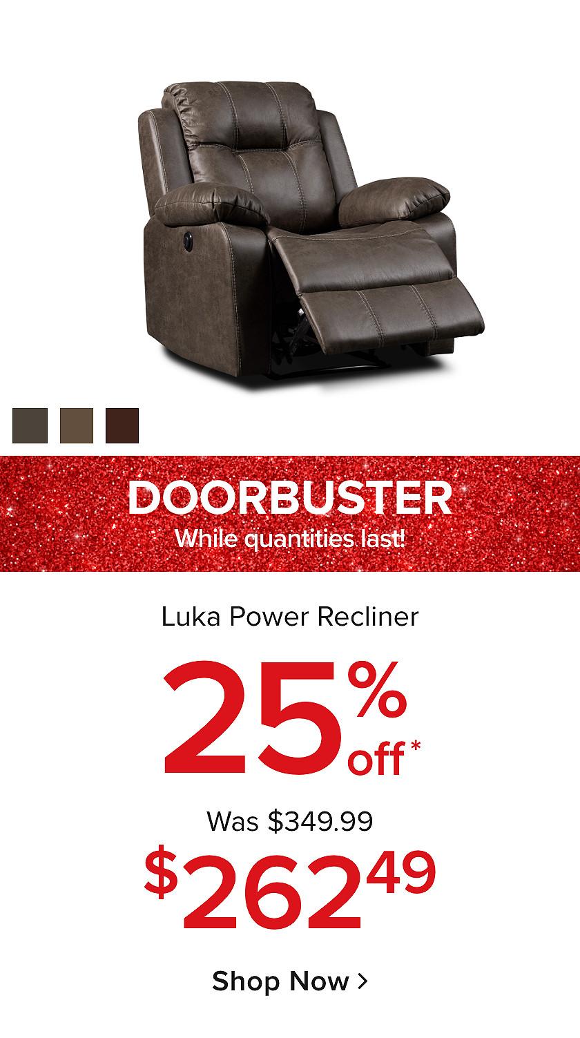 Doorbusters: 25% Off Luka Recliner