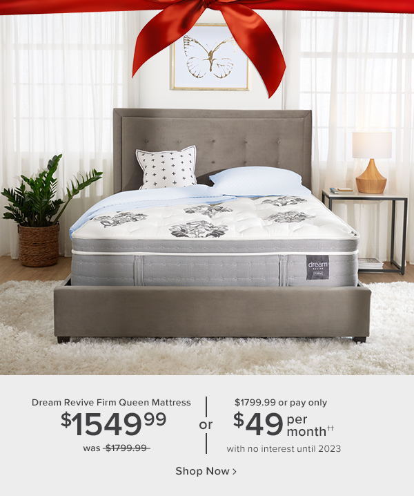 dream revive firm queen mattress $1549.99 was $1799.99 or $1799.99 pr pay only $49 per month with no interest until 2023 shop now.
