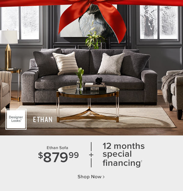 Ethan Sofa $879.99 + 12 months special financing shop now