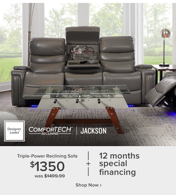 comfortech jackson triple-power reclining sofa. $1350. shop now