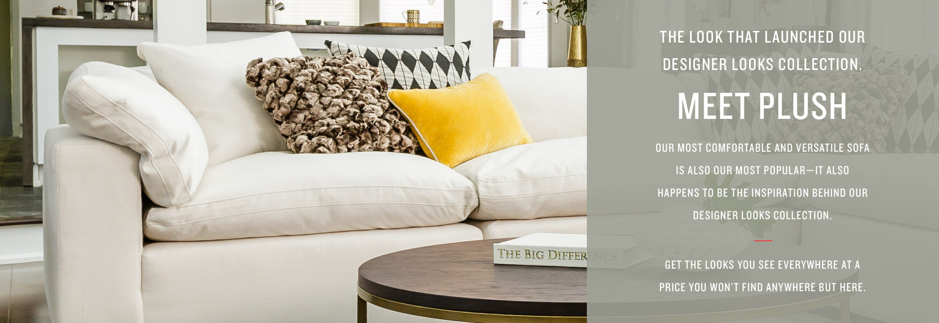 The look that launched our Designer Looks Collection. Meet Plush... Our most comfortable and versatile sofa is also our most popular sofa - it also happens to be the inspiration behind our Designer Looks Collection. Get the looks you see everywhere at a price you won't find anywhere but here.