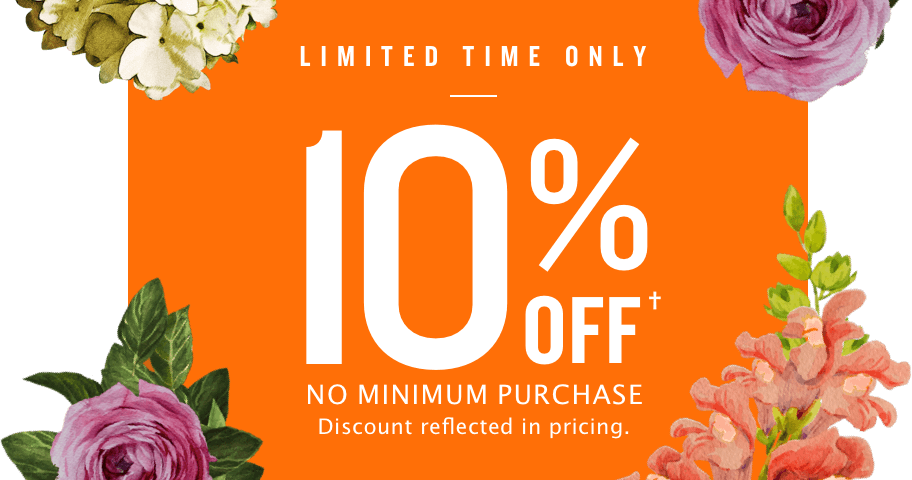 10%off no minimum purchase. discount reflected in price