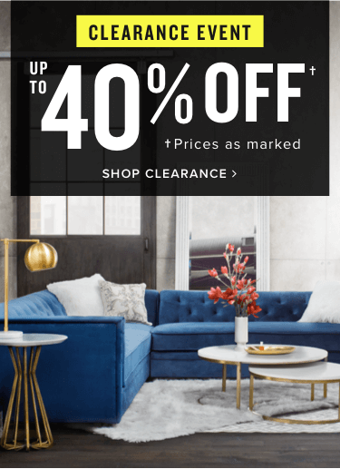 clearance event | up to 40% off | prices as marked