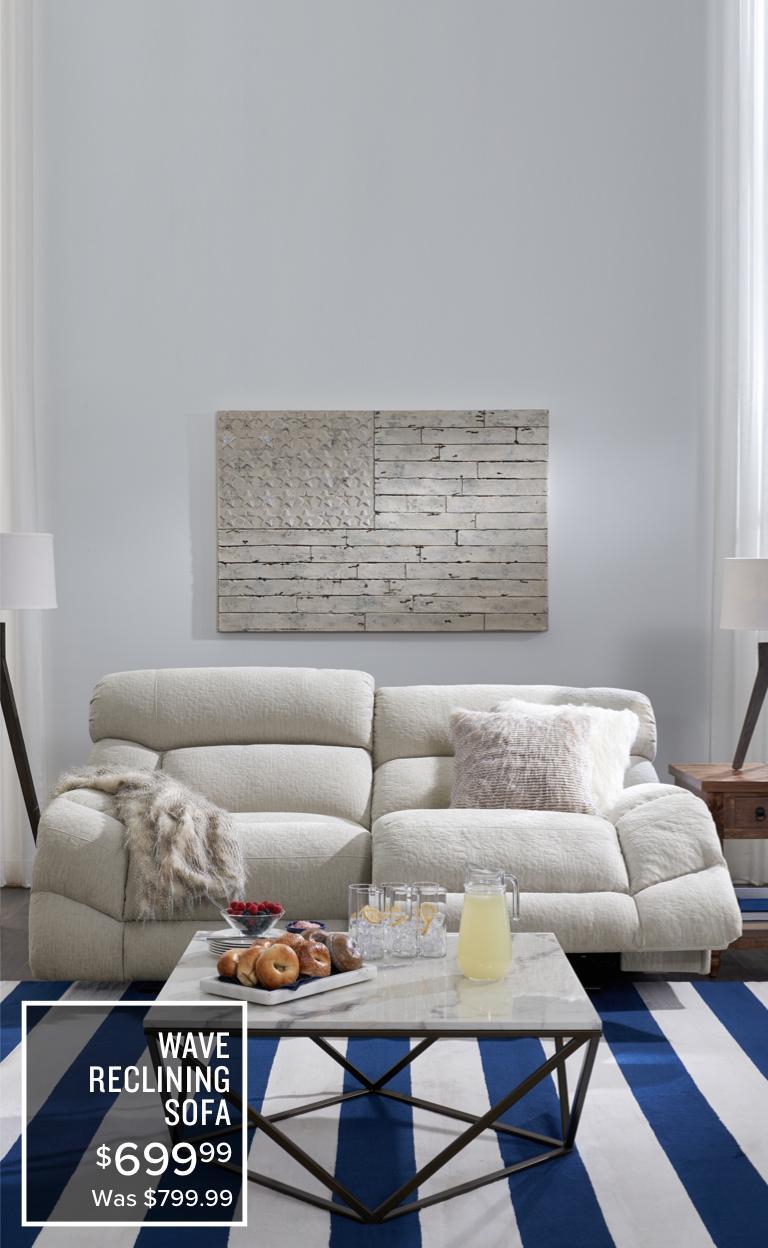 Merveilleux Wave Reclining Sofa | $679.99 | Was $799.99