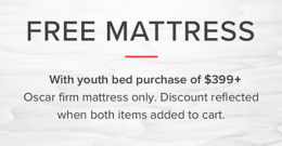 free mattress with youth bed purchase of $399