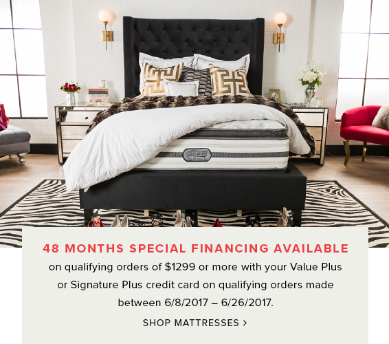 48 months special financing available on qualifying orders of $1299+ or more. shop mattresses