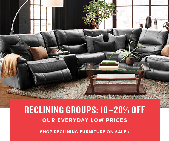 reclining groups: 10-20% off. shop reclining furniture on sale.