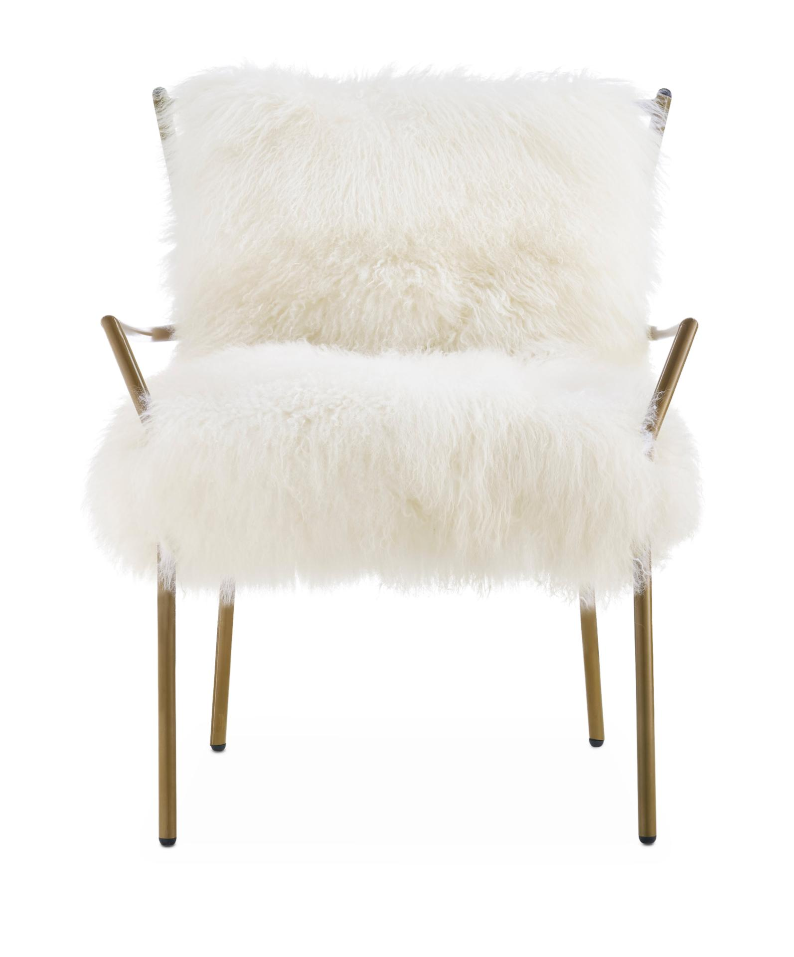 lara accent chair gold and white