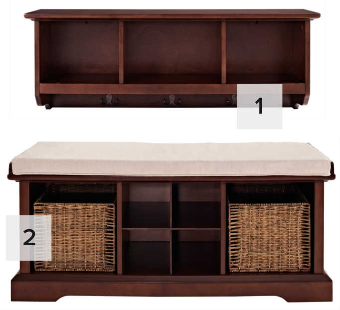 levi entryway storage and bench collection
