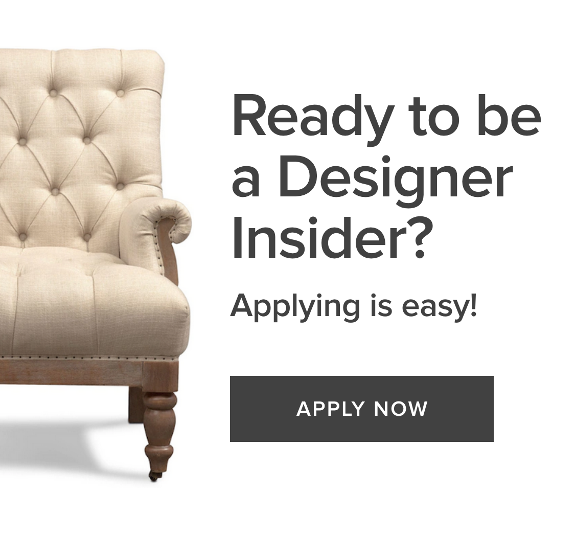Designer Trade Program Apply Now Banner with Chair