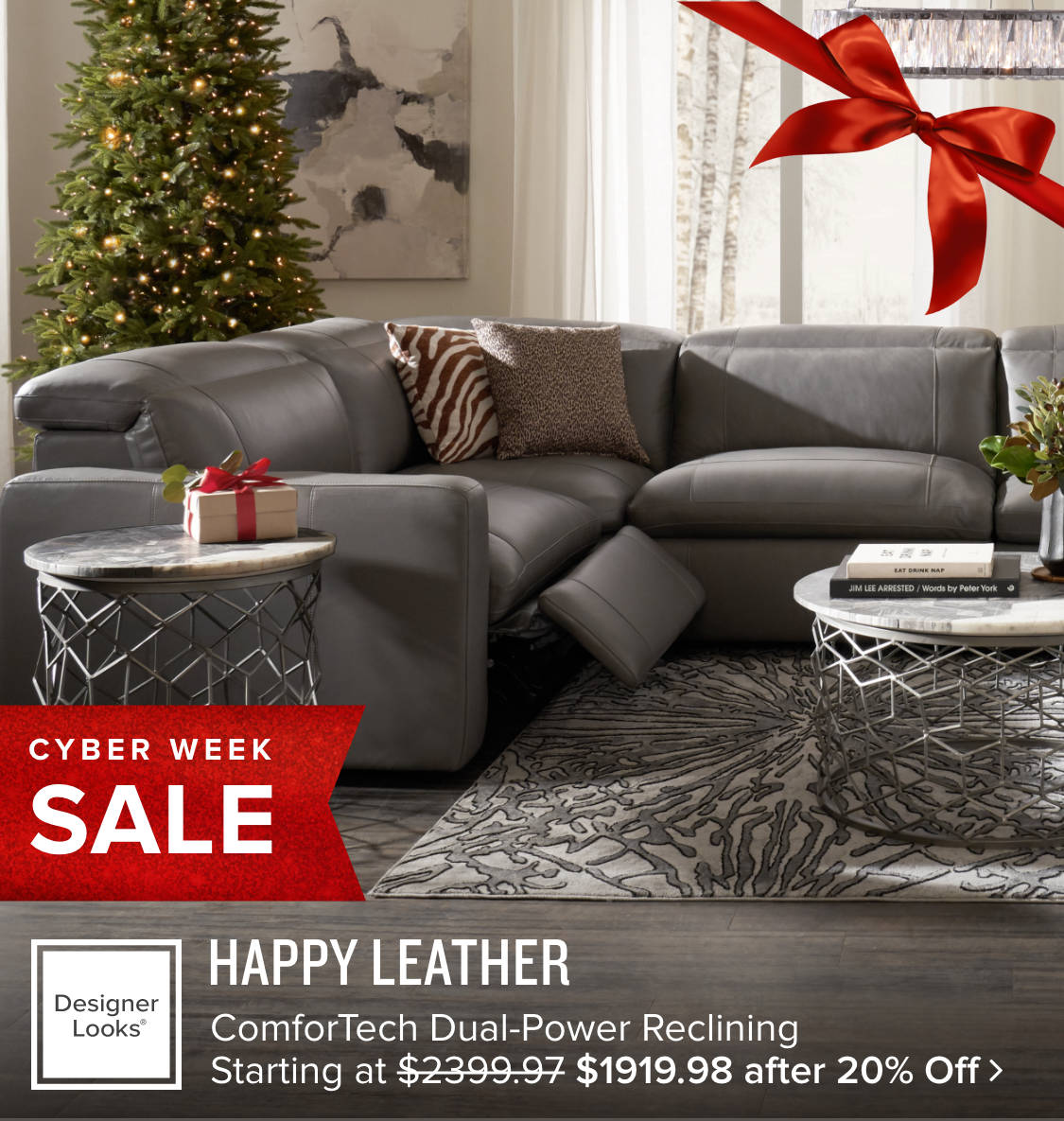 Happy Leather Reclining Sectional $1919.98 after 20% Off