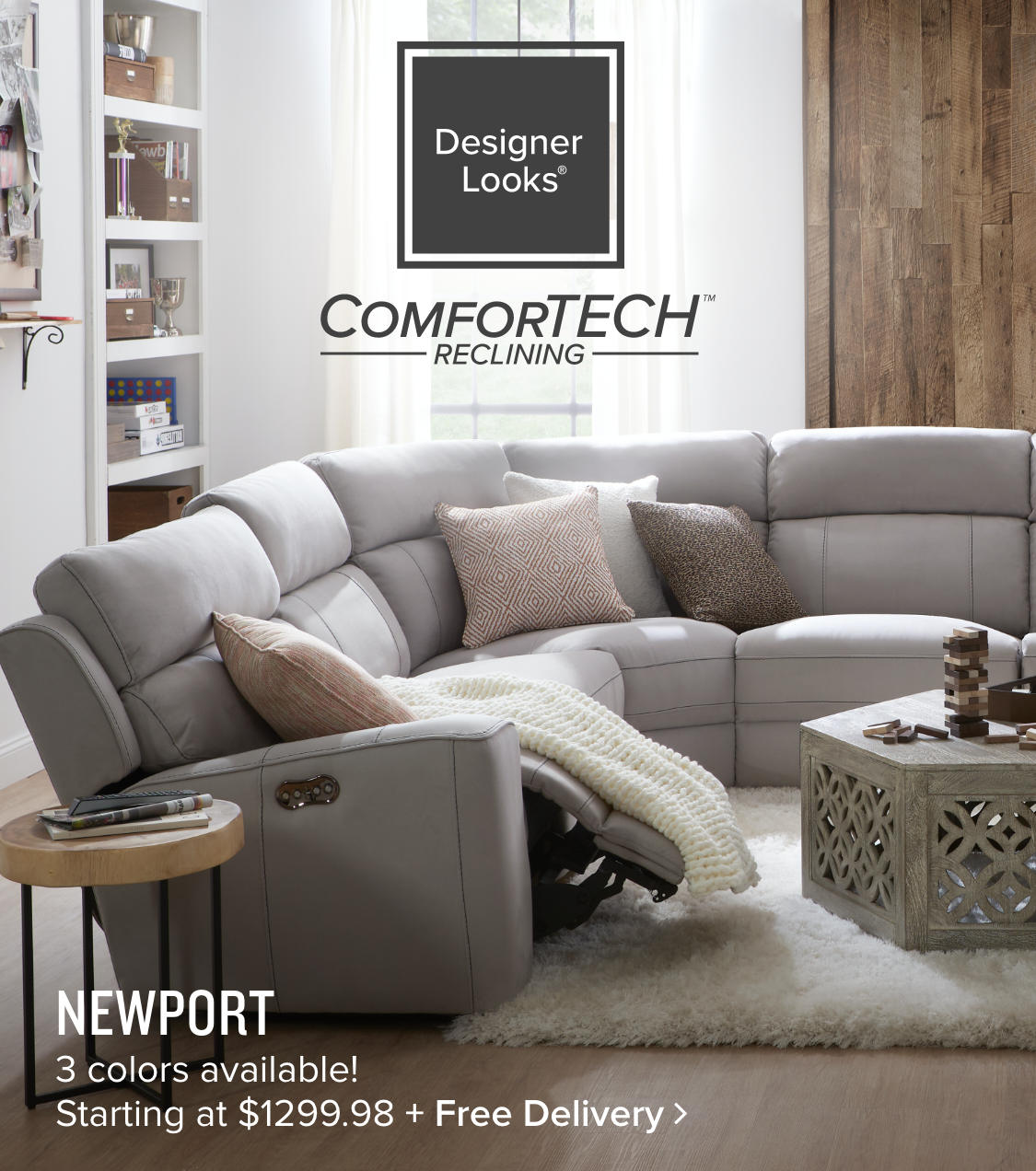 Newport Head + Foot + Lumbar | Triple PowerComforTech Reclining Furniture