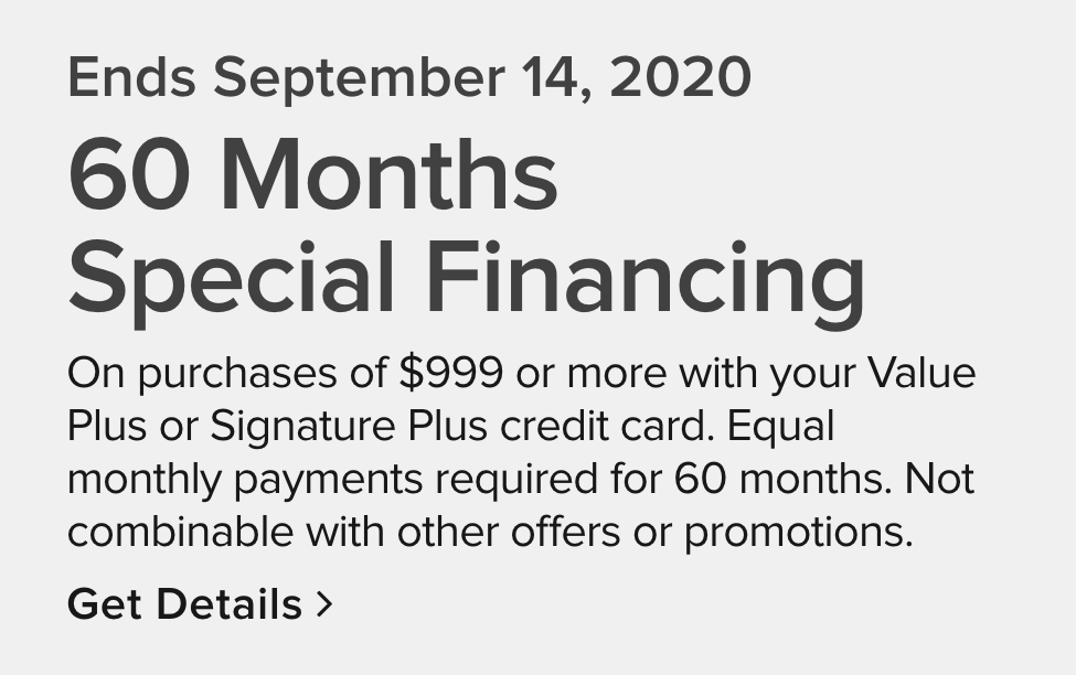 promotional financing available